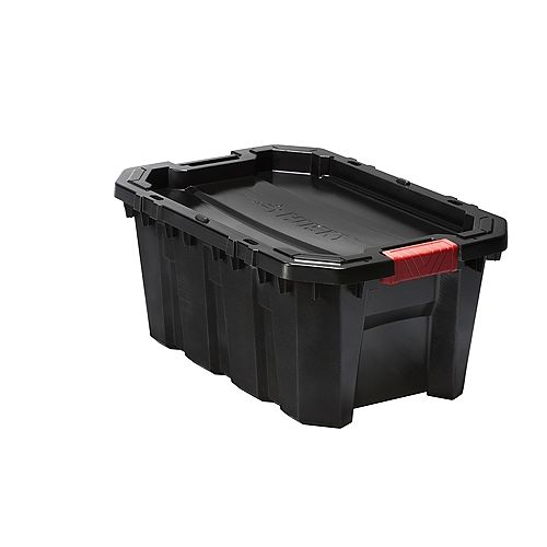 HUSKY 56L (15 Gal.) Latch and Stack Tote in Black