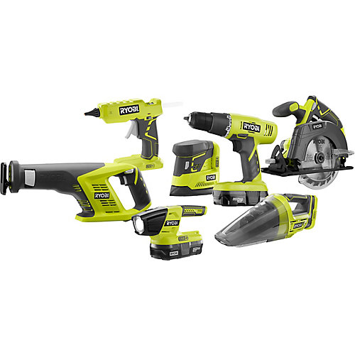 18V ONE+ Cordless Lithium-Ion Combo Kit (7-Tool) with (2) 1.3 Ah Batteries, Charger and Bag