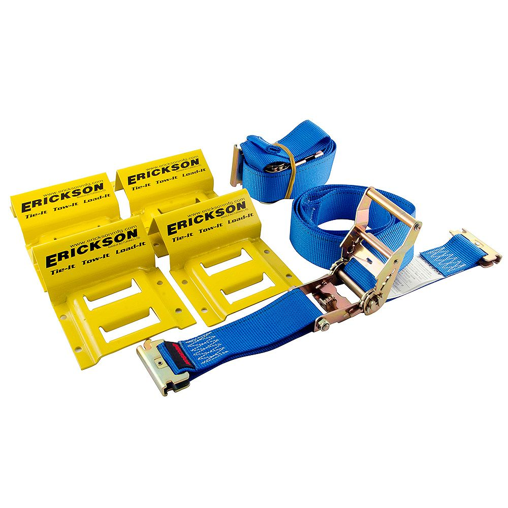 Erickson Wheel Chock and Strap 6.5 ft. x 2-inch 2-Pack E-Track Ratchet Straps with 4-Pack Wheel Chocks