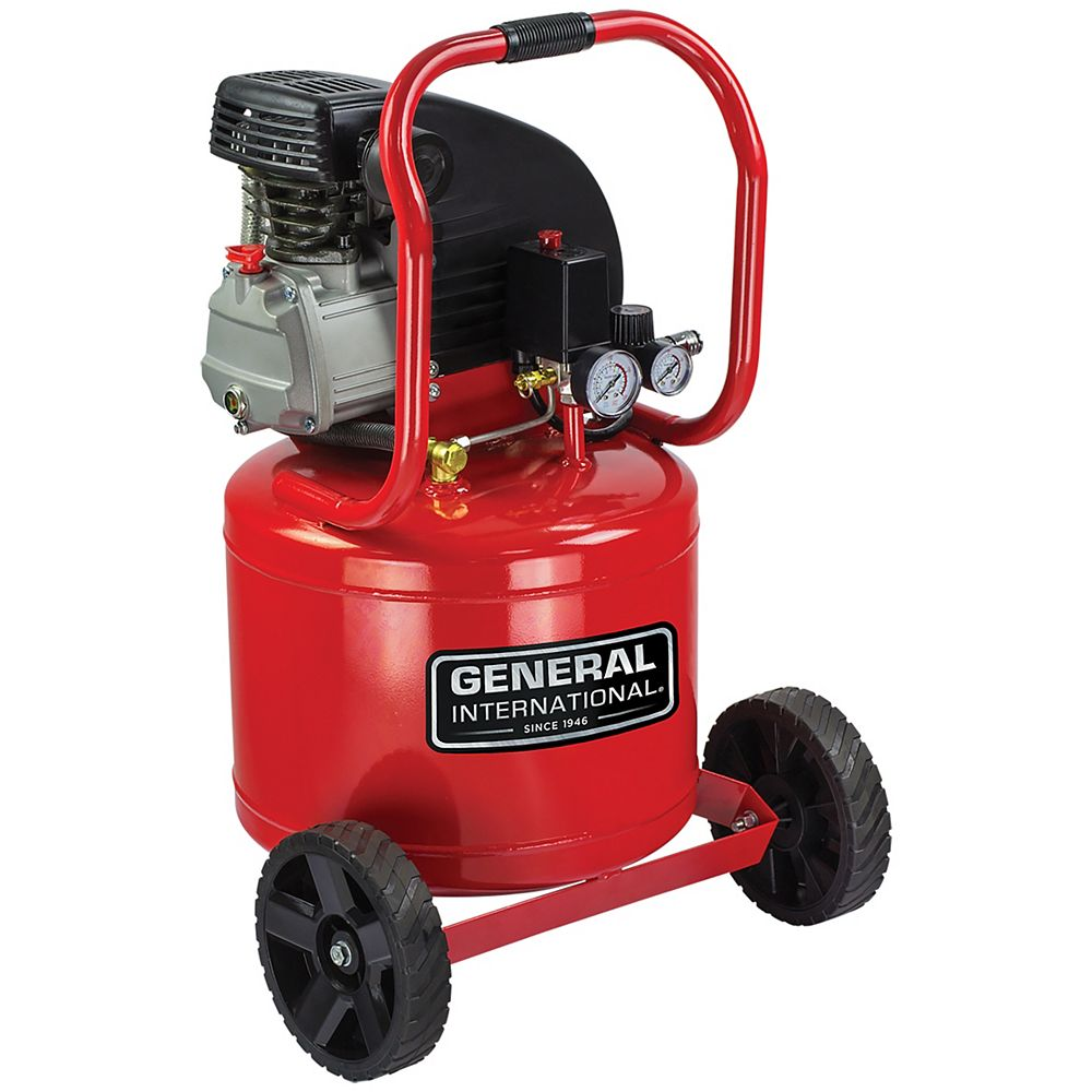 General International 2Hp 11 Gal Vertical Oil-Lubricated Electric Air Compressor With Wheels