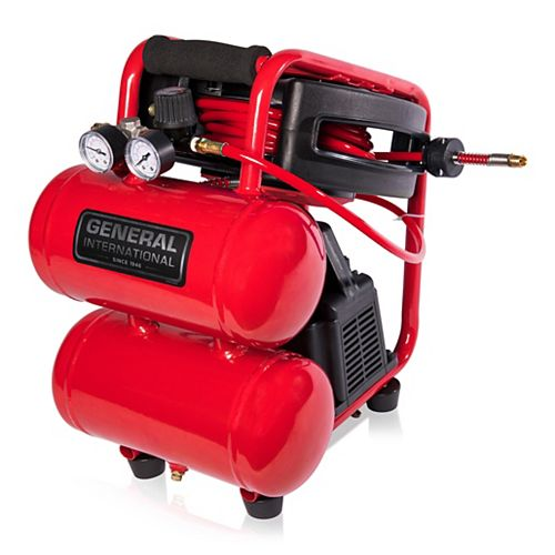 1/3 Hp 2 Gallon Twin Stack Air Compressor With 25' Auto Rewind Hose Reel