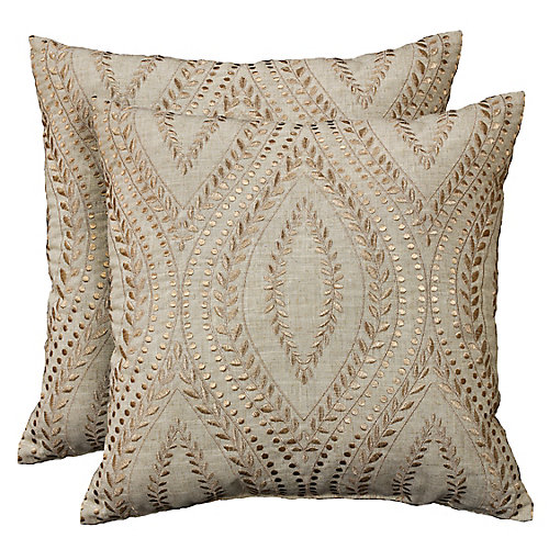 Laurel metallic embroidered geo decorative cushions 18x18, natural taupe (2-Pack)