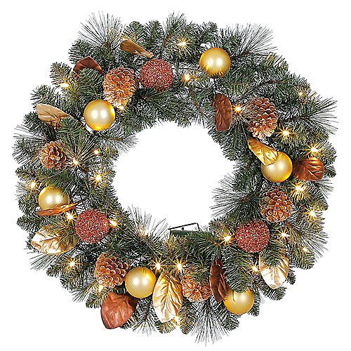 Home Accents 30 inch Pre-Lit LED Arctic Flurry Artificial Wreath with 35 Battery-Operated Lights