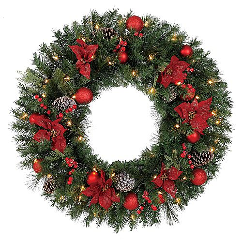 Home Accents 32 inch Pre-Lit LED Artificial Red Poinsettia Wreath with 50 Battery-Operated Lights