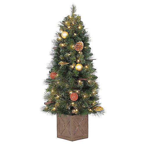 Arbre de Noël Arctic Flurry en pot de 4 pi pré-illuminé, avec 70 ampoules à DEL blanc chaud