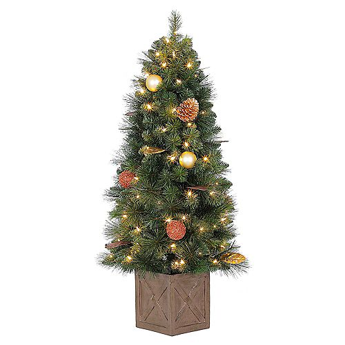 4 ft. Pre-Lit LED Arctic Flurry Potted Christmas Tree with 70 Warm White Lights