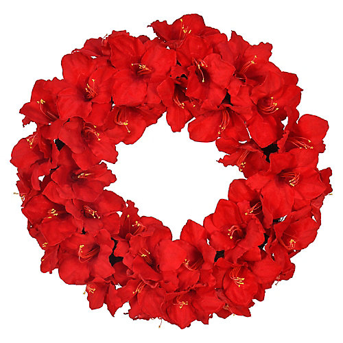 28 inch Red Amaryllis Artificial Christmas Wreath