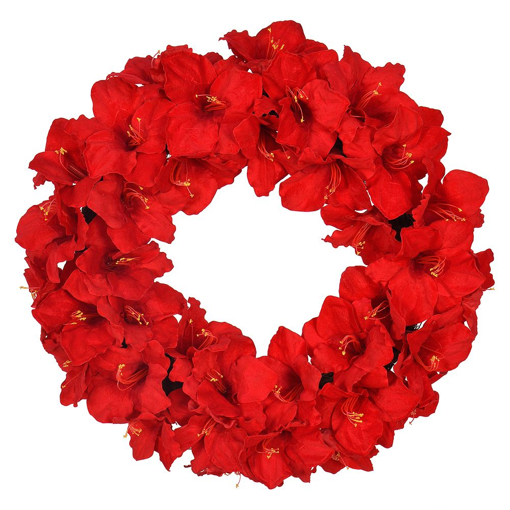 Home Accents 28 inch Red Amaryllis Artificial Christmas Wreath
