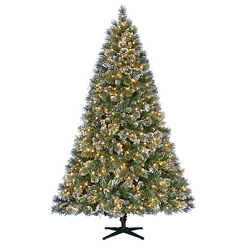 7.5 ft. Pre-Lit LED Sparkling Pine Artificial Christmas Tree with 600 Warm White 5 Function Lights