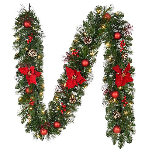 Home Accents 9 ft. Pre-Lit LED Icicle Shimmer Artificial Christmas Garland with 50 Warm White Lights