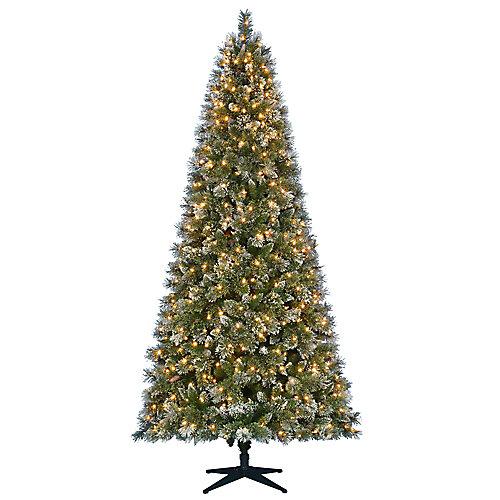 Pin de Noël scintillant artificiel de 9pi pré-illuminé avec 600 à DEL et 5options d'éclairage