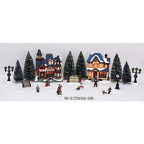 Scène de village de Noël illuminée à DEL, 20 pièces