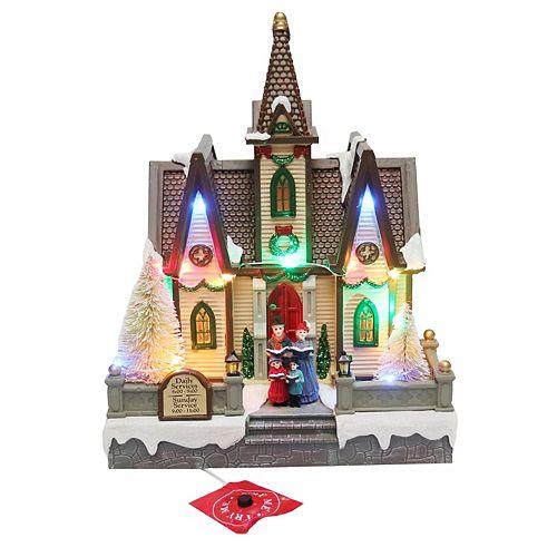 Église de Noël illuminée à DEL, 18 po