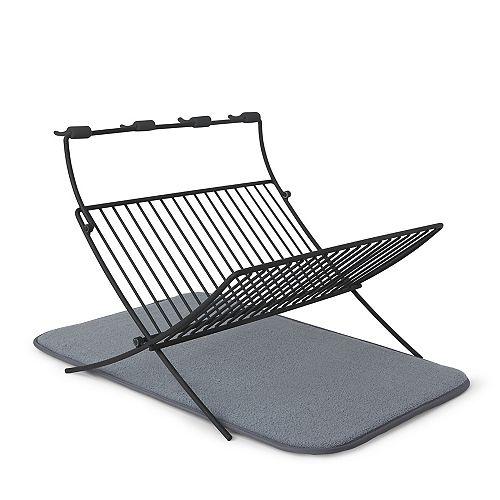 XDRY Dish Drying Rack and Microfiber Dish Mat  Charcoal