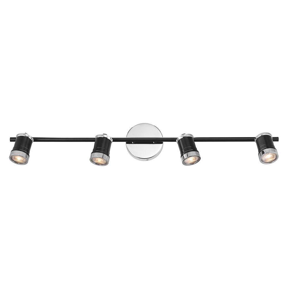 Eglo Metalis Luminaire sur Rail 4L, Fini Noir et Chrome