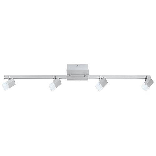 Straya LED Track Light 4L, Brushed Aluminum Finish with Satin & Clear Acrylic Shades
