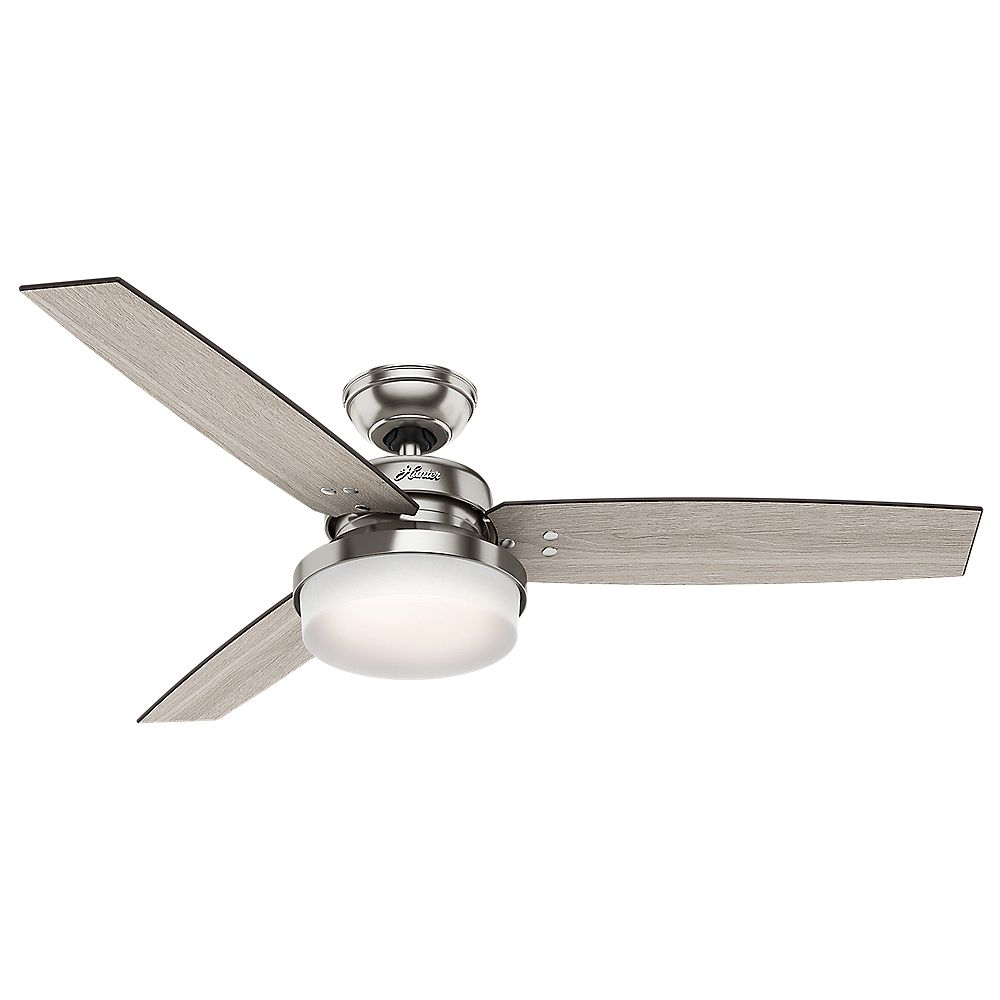Hunter Sentinel 52 inch LED Indoor Brushed Nickel Ceiling Fan with Light Kit and Handheld Remote
