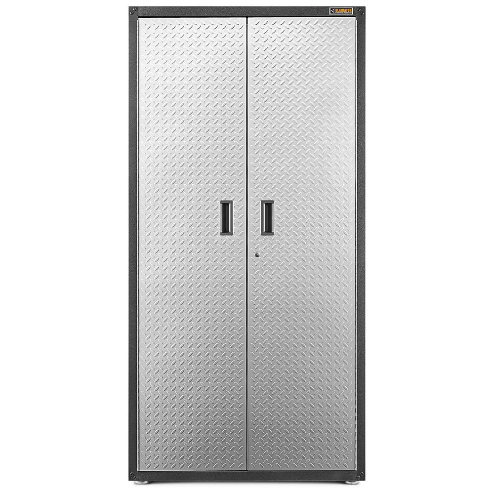 Gladiator Ready-to-Assemble 72-inch H x 36-inch W x 24-inch D Steel Freestanding Garage Cabinet in Silver Tread