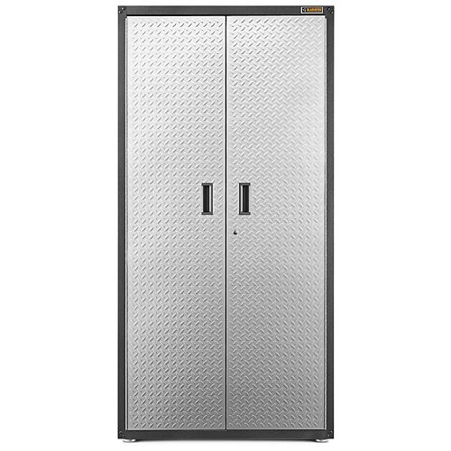 Ready-to-Assemble 72-inch H x 36-inch W x 24-inch D Steel Freestanding Garage Cabinet in Silver Tread