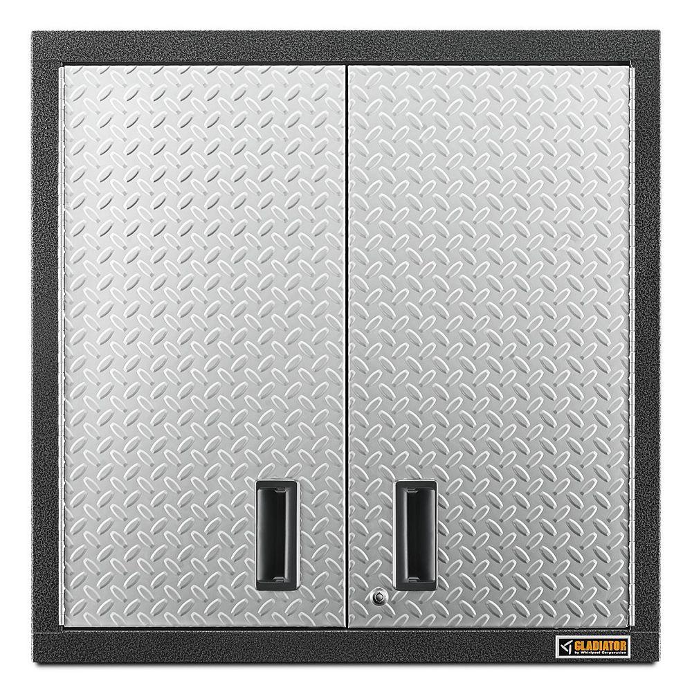 Gladiator Premier Series 30-inch H x 30-inch W x 12-inch D Steel 2-Door Garage Wall Cabinet in Silver Tread