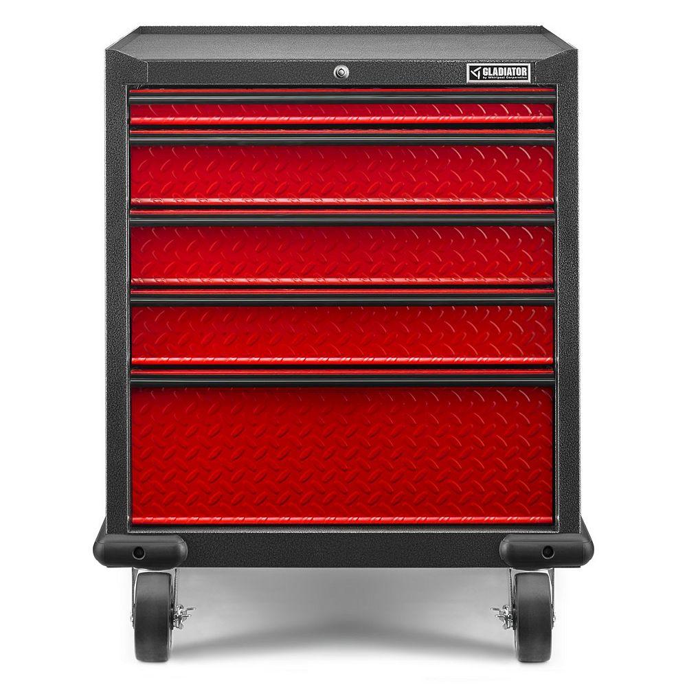 Gladiator Armoire de garage roulante à 5 tiroirs en acier de 35 po H x 28 po L x 25 po D de la série Premier, 35 po H x 28 po P x 25 po D, bande de roulement rouge