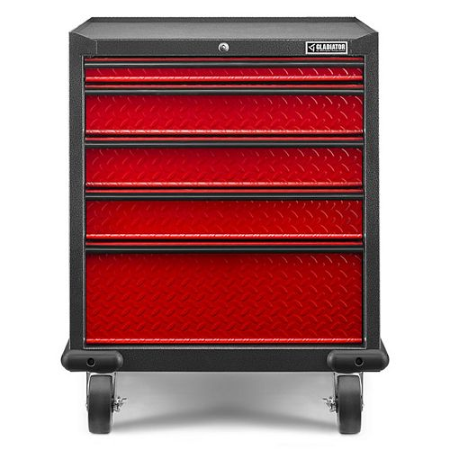 Gladiator Premier Series 35-inch H x 28-inch W x 25-inch D Steel 5-Drawer Rolling Garage Cabinet in Red Tread