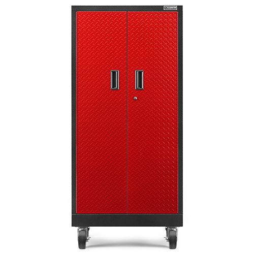 Premier Series 66-inch H x 30-inch W x 18-inch D Steel Rolling Garage Cabinet in Red Tread