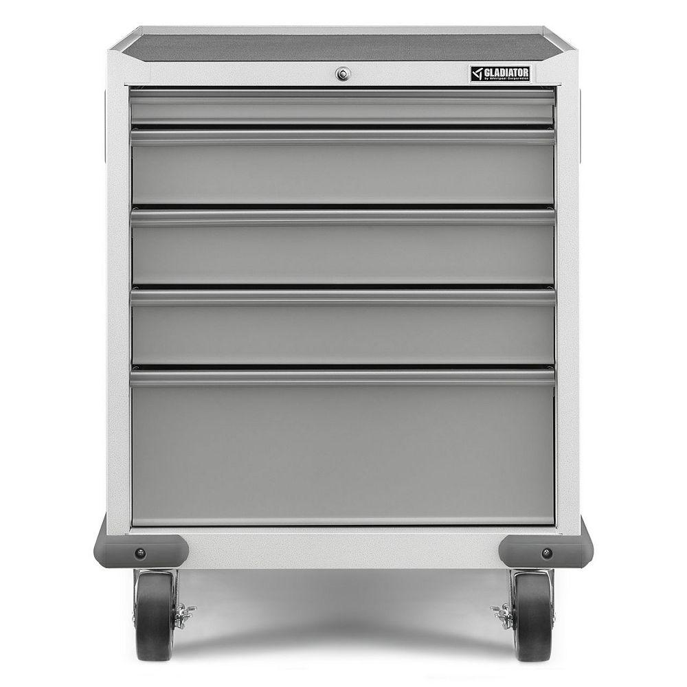 Gladiator Premier Series 35-inch H x 28-inch W x 25-inch D Steel 5-Drawer Rolling Garage Cabinet in White