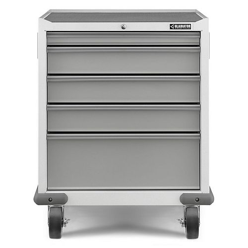 Gladiator Premier Series 35-inch H x 28-inch W x 25-inch D Steel 5-Drawer Rolling Garage Cabinet in White