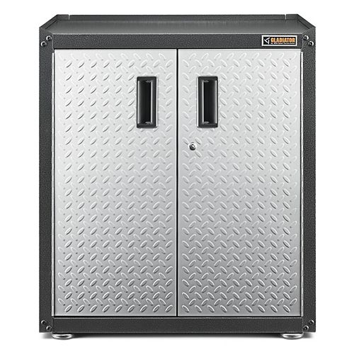Ready-to-Assemble 31-inch H x 28-inch W x 18-inch D Steel 2-Door Freestanding Garage Cabinet in Silver Tread