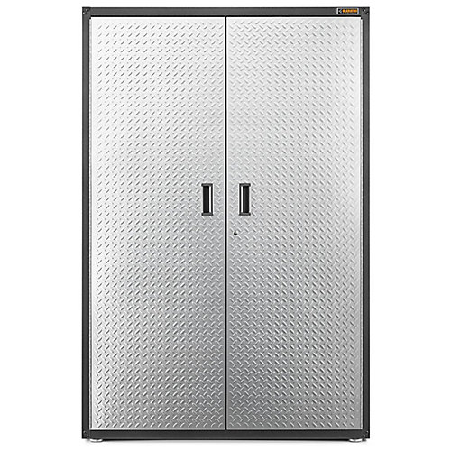 Ready-to-Assemble 72-inch H x 48-inch W x 18-inch D Steel Freestanding Garage Cabinet in Silver Tread