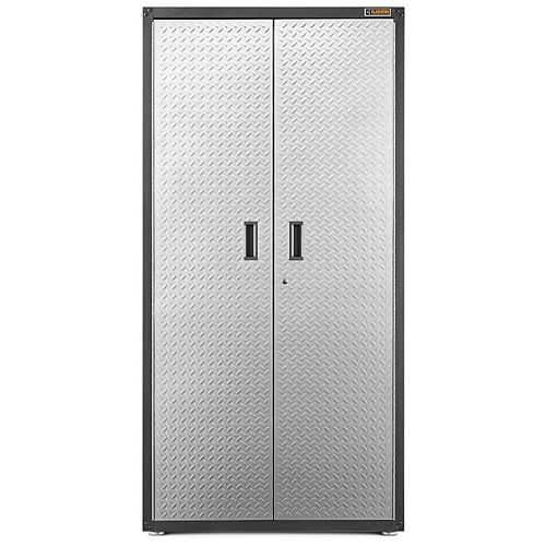 Ready-to-Assemble 72-inch H x 36-inch W x 18-inch D Steel Freestanding Garage Cabinet in Silver Tread