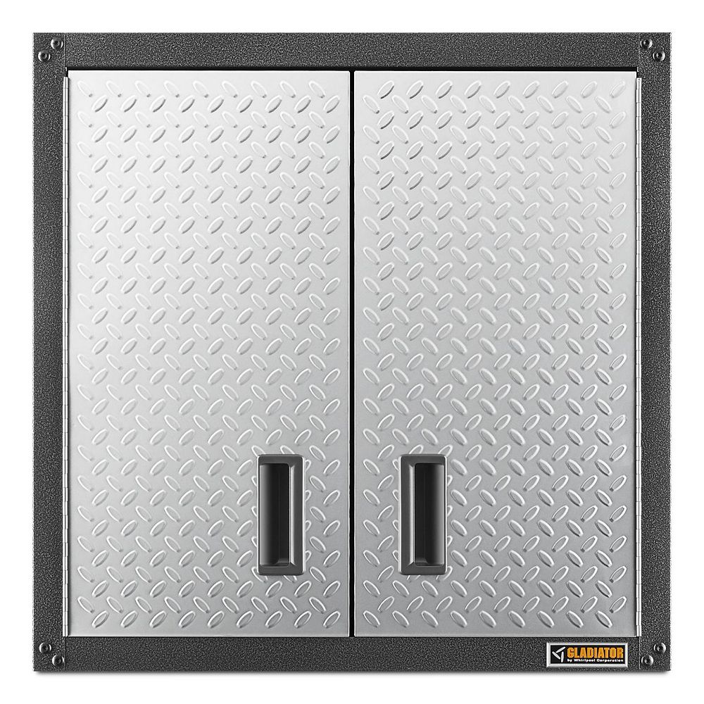 Gladiator Ready-to-Assemble 28-inch H x 28-inch W x 12-inch D Steel Garage Wall Cabinet in Silver Tread