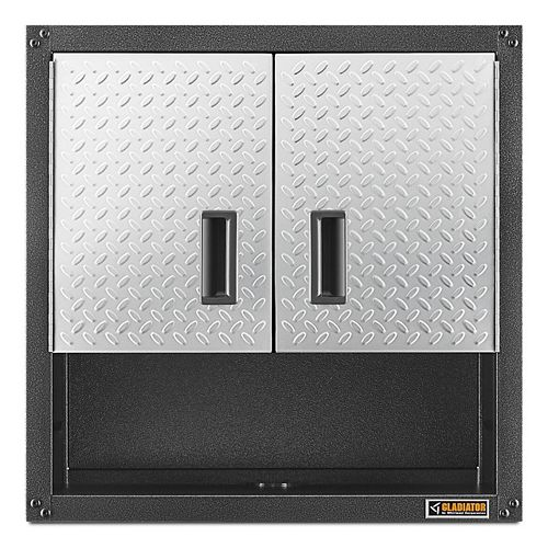Ready-to-Assemble 28-inch H x 28-inch W x 12-inch D Steel 2-Door Garage Wall Cabinet in Silver Tread