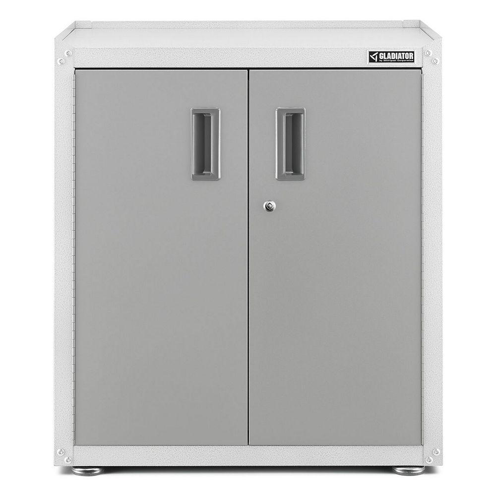 Gladiator Meuble de garage 2 portes autoportant en acier de 31 po H x 28 po L x 18 po P, prêt-à-assembler, 2 portes, blanc