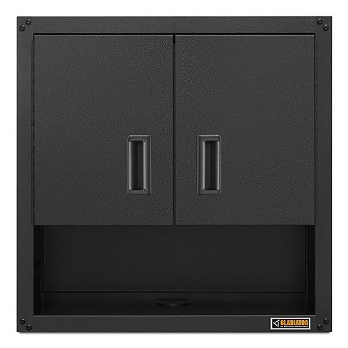 Gladiator Ready-to-Assemble 28-inch H x 28-inch W x 12-inch D Steel Garage Wall Cabinet with Shelf in Hammered Slate
