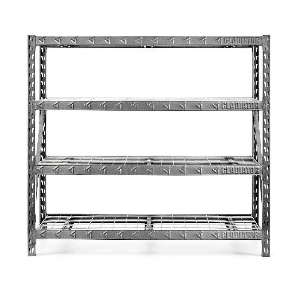 Gladiator 4-Shelf 72-inch H x 77-inch W x 24-inch D Welded Steel Garage Shelving Unit