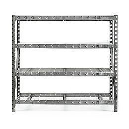 4-Shelf 72-inch H x 77-inch W x 24-inch D Welded Steel Garage Shelving Unit