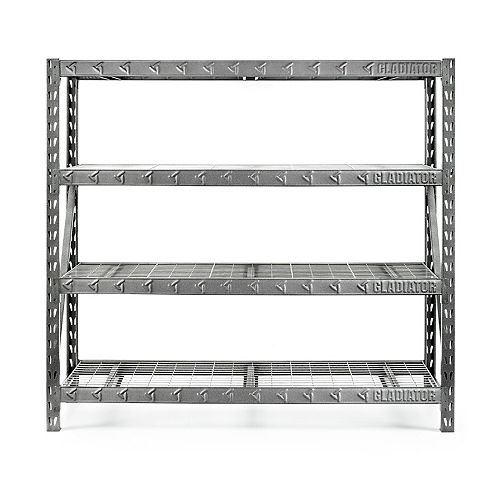 4-Shelf 72-inch H x 77-inch W x 24-inch D Welded Steel Garage Shelving Unit