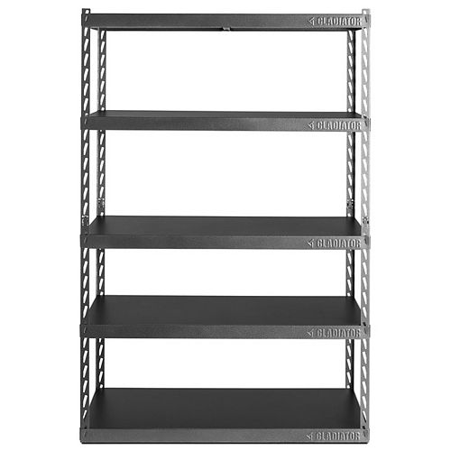 Gladiator 48-inch W EZ Connect Rack with Five 24-inch D Shelves in Hammered Granite