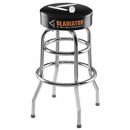 Ready-to-Assemble 30-inch H x 15-inch W Padded Swivel Garage Stool in Black and Chrome