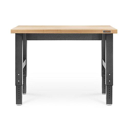 4 ft. Hardwood Top Adjustable Height Workbench in Hammered Granite