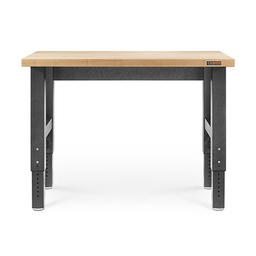 4 ft. Hardwood Top Adjustable Height Workbench in Hammered Granite