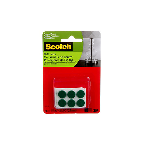 Self-Stick Felt Pads, Green, 1.27 cm, 24/Pack
