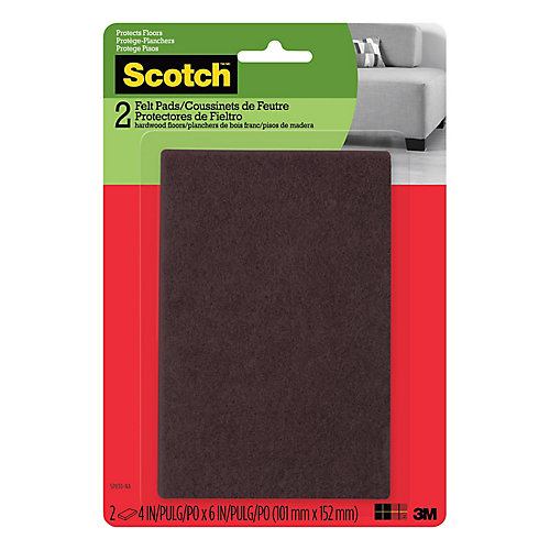 Easy Cut Felt Pads, Brown, 4 inch x 6 inch (10.1 cm x 15.2 cm), 2/Pack
