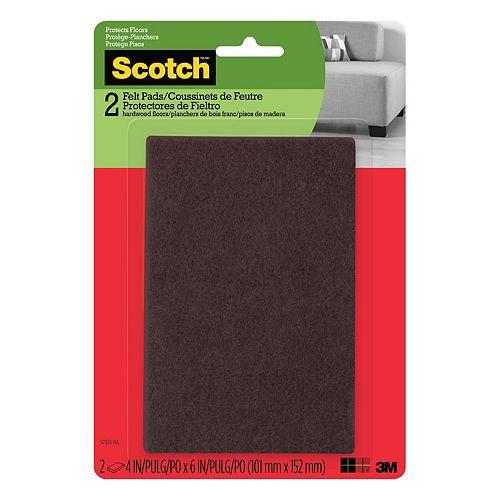 Easy Cut Felt Pads, Brown, 4 inch x 6 inch (10.1 cm x 15.2 cm), 2/Pack