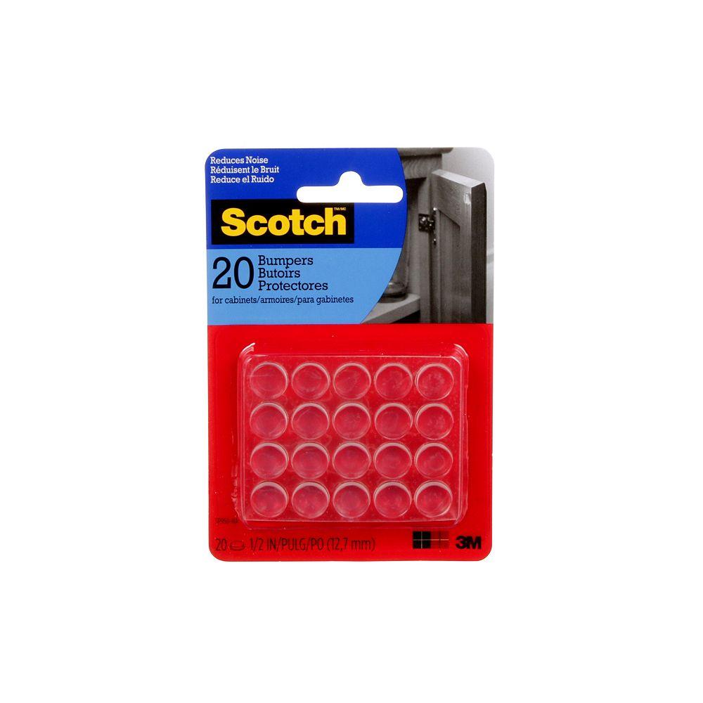 Scotch Self-Stick Rubber Bumpers, SP950-NA, clear, 0.5 inch (1.27 cm), 20 per pack