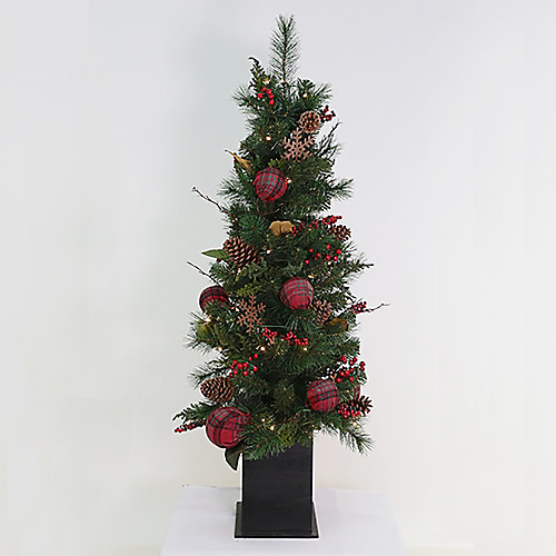 54-inch Midnight Twinkle Pre-Lit Potted Tree