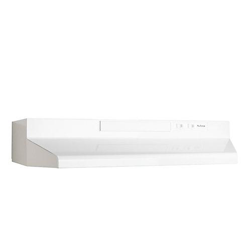 Hotte de cuisinière sous-armoires 30 po 160 pi3/min de couleur blanche