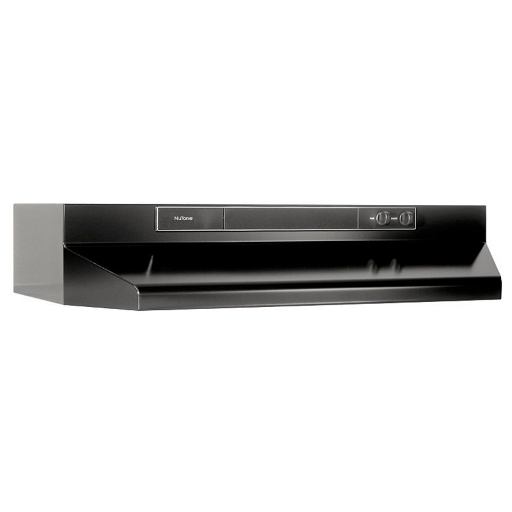 Broan-NuTone 30-inch Convertible Under Cabinet Range Hood, 260 CFM with Ductless Option (Charcoal Filter Sold Separately) in Black